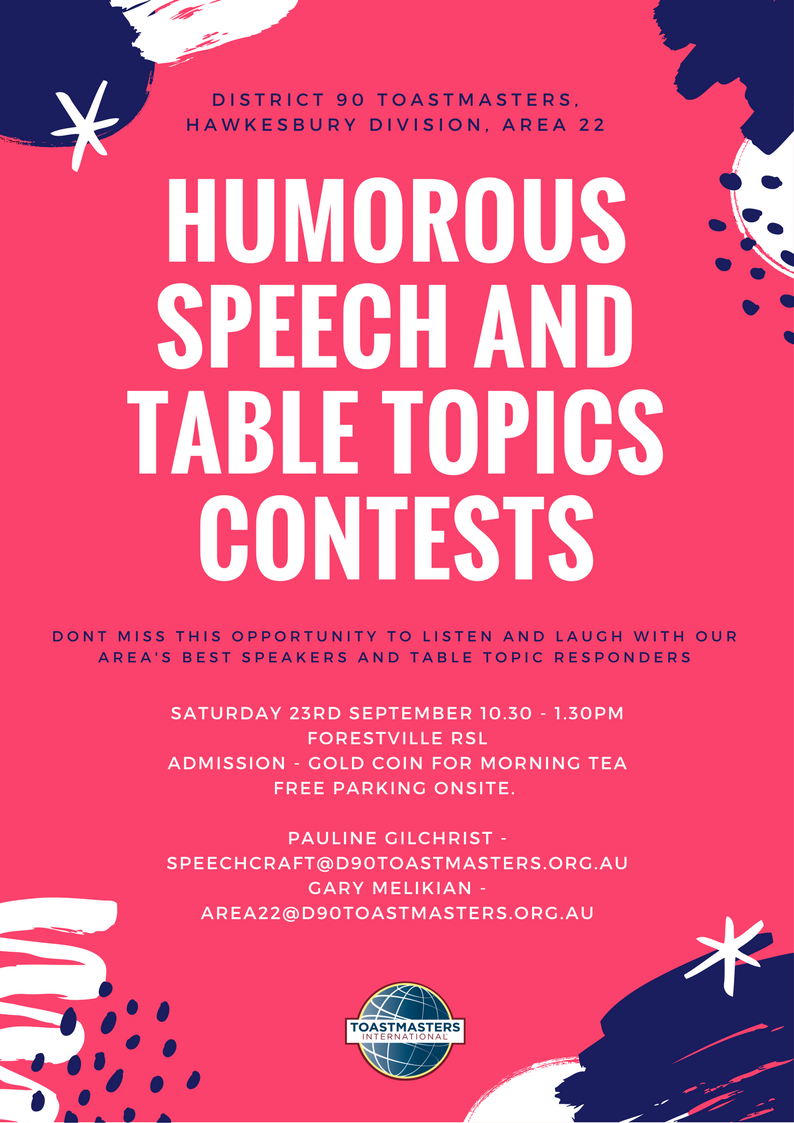 Humorous Speech and Table Topics Contest - Forestville